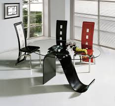 chair dining room with glass table top and plastic chairs featured