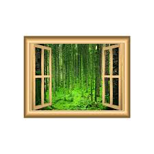 Woodland Forest Peel And Stick Mossy Forest Nature 3d Wall Art Decal Forest Window Frame Peel
