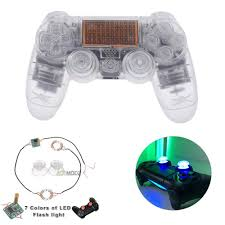 how to change the color of ps4 controller light transparent clear full set kit shell buttons led light joystick caps