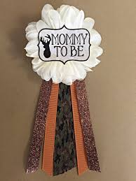 camo oh deer baby shower pin mommy to be pin flower ribbon pin