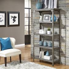 slatted room divider altra furniture wildwood rustic gray open bookcase 9631096 the