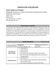 Sample Human Resources Assistant Resume by Resume Cv Sample Format Human Resources Hr Work Experience