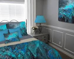 Gray And Turquoise Bedding Bohemian Bedding Etsy