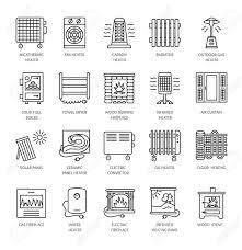 chauffage bureau icônes de ligne de vecteur avec radiateur convecteur et cheminée
