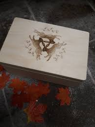 engraved memory box large wooden keepsake memory box weddings cirlce of hares