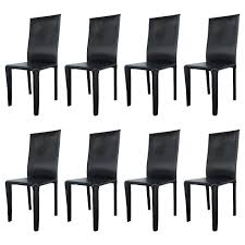 Leather Dining Chair Twelve Italian Black Leather Dining Chairs By Arper For Sale At