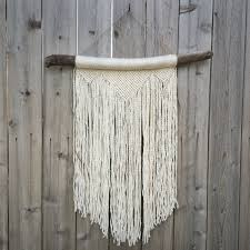 Macrame Home Decor by Large White Macrame Wall Hanging On Driftwood Large White