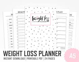 printable weight loss diet chart weight loss planner a5 work out planner fitness lifestyle