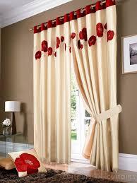 golden cream red poppy ring top eyelet curtain