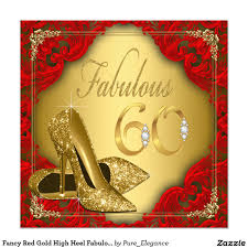 60th Birthday Invitation Card Fancy Red Gold High Heel Fabulous 60th Birthday Invitation