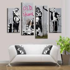online get cheap banksy graffiti art aliexpress com alibaba group 4 pcs set banksy art pictures graffiti art figures wall art painting prints on canvas