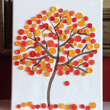 colorful button tree craft ideas for school and home 16