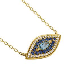 eye charm necklace images 14k gold 1 6ct tdw diamond gemstone evil eye charm necklace h i jpg