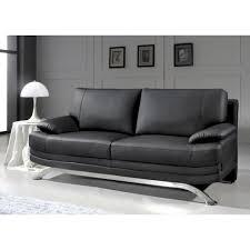 achat canapé cuir canapé 3 places en cuir noir design pied chromé achat vente