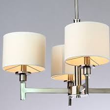 Brushed Nickel Dining Room Light Fixtures by White Shade Brushed Nickel 6 Lights Chandelier At Lightingbox Com