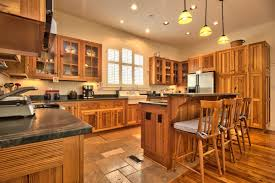 use pine wood as the floor of the kitchen will provide natural