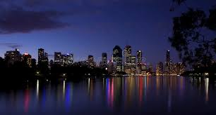 brisbane city lights river reflection australia stock photo