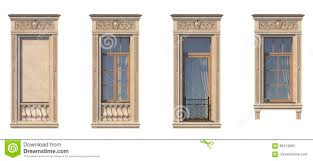 framing of windows in classic style on the stone 3d rendering