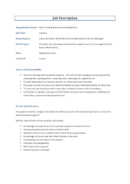 Household Manager Resume Cleaning Services Job Description Resume Sample