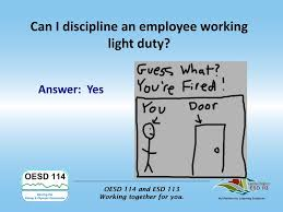 what is light duty work progressive disciplinary action ppt download