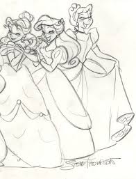 drawing art disney rapunzel ariel jasmine sketch cinderella