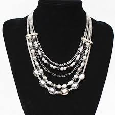 pearl necklace women images Gorgeous layered alloy faux pearl necklace for women in silver jpg