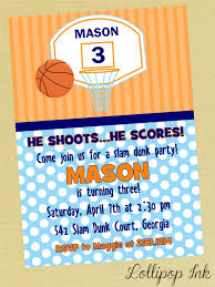 Printable Birthday Invitation Cards For Kids Basketball Printable Birthday Invitation Slam Dunk By Lollipopink