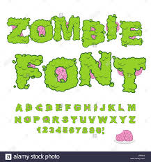 zombie font scary green letters and brain horrible halloween