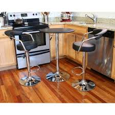 amerihome retro style chrome bar table set in back with adjustable