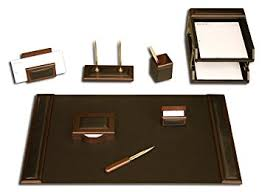 Brown Leather Desk Accessories Dacasso Walnut And Black Leather Desk Set 10