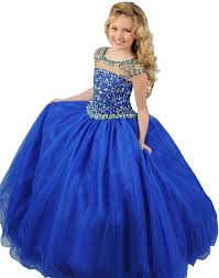 gown round neck cap sleeve royal blue tulle beaded party prom