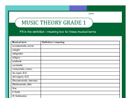 grade one music theory worksheet fill in the definitions by