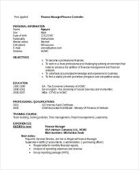 Financial Manager Resume Sample by Sample Finance Resume Template 7 Free Documents Download In Pdf