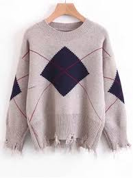 frayed hem geometric pullover sweater card apricot sweaters one