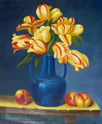 Blue Flower Vases Oil Paintings Frames