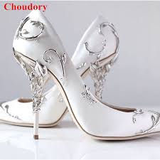 wedding shoes ornate filigree leaf white women wedding shoes chic satin stiletto