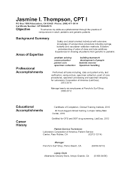 Objective Samples For Resumes by Phlebotomist Resume Objective Samples Phlebotomy Resume Jasmine I