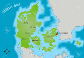 a stylized map of denmark showing different big cities as well