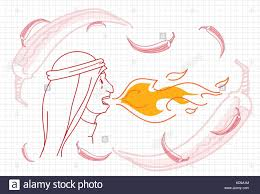 female breathing fire chili pepper concept sketch stock