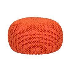 furniture interesting orange knit pouf ottoman ideas for boys