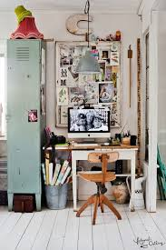 eclectic industrial workspace locker inspiration board chair