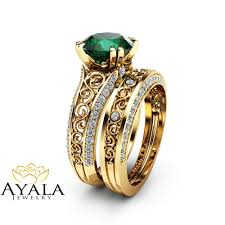 bridal gold ring 2 carat emerald engagement ring set unique 14k yellow gold rings
