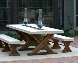 marvelous outdoor dining table sets with terrific white bench seat