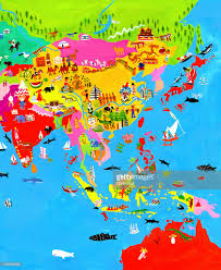 Maps Of Asia by Map Of Asia With Asian Culture And Wildlife Stock Illustration