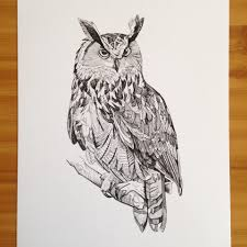 experimenting with more ink drawings here u0027s an eagle owl i drew