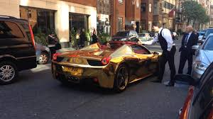 gold ferrari 458 gold chrome ferrari 458 spider wrapped in gold london