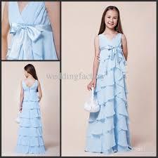 light sky bule tiered junior bridesmaid dresses chiffon sash
