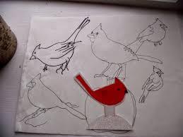 canadian needle nana drawing mr cardinal for a felt ornament