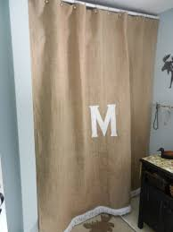 Colored Burlap Curtains Burlap Shower Curtain With Boullion Fringe And Your Initial