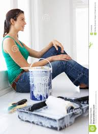 Painting House by Woman Painting House Royalty Free Stock Images Image 21045029